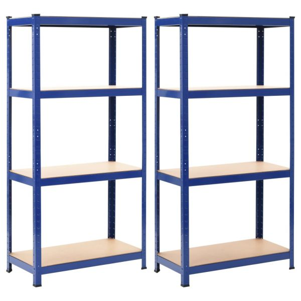 Hochwertige Thun Lagerregale 2 Stk. Blau 80 x 40 x 160 cm Stahl und MDF