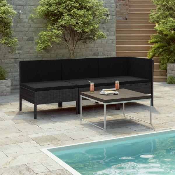 Geschmackvolle 3-tlg. Garten-Lounge-Set mit Auflagen Poly Rattan Schwarz Oaxaca