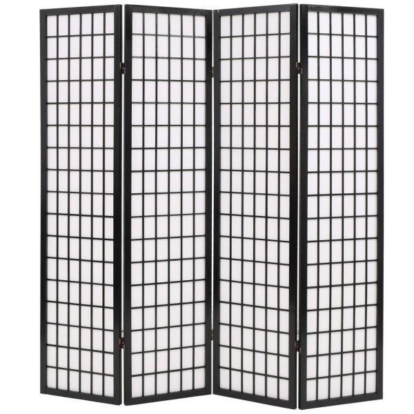 Fabelhafte Catanzaro 4tlg. Raumteiler Japanischer Stil Klappbar 160 x 170 cm Schwarz