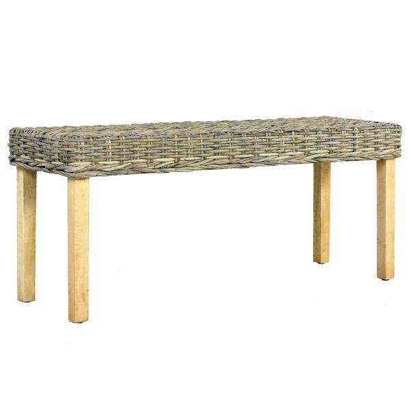 traumhafte Sitzbank 110 cm Natur Kubu-Rattan und Massivholz Mango Tiszaujvaros