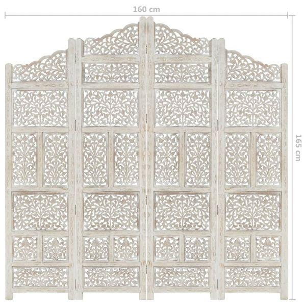 Wundervolle Monterotondo 4tlg. Raumteiler Handgeschnitzt Weiß 160 x 165cm Mango Massivholz