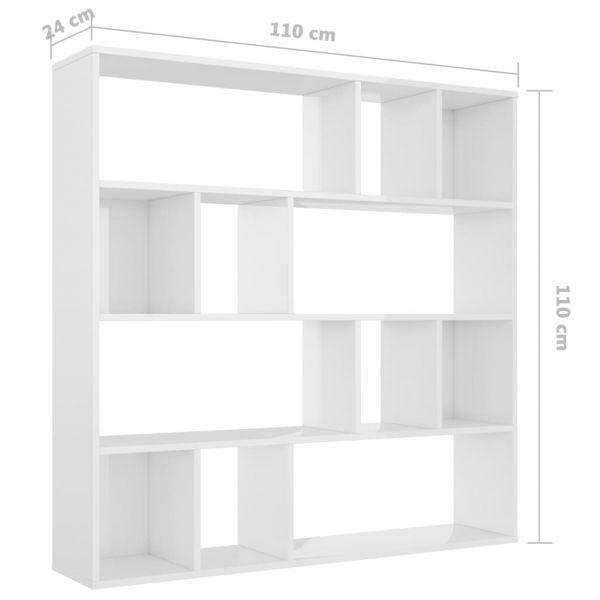 Trendige Pallanza-Intra-Suna Raumteiler/Bücherregal Hochglanz-Weiß 110 x 24 x 110 cm Spanplatte
