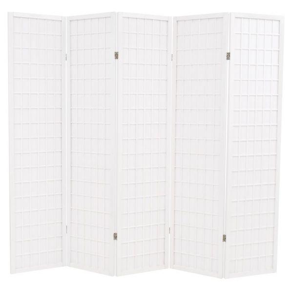 Prachtvolle Latina 5-tlg. Raumteiler Japanischer Stil Klappbar 200 x 170 cm Weiß