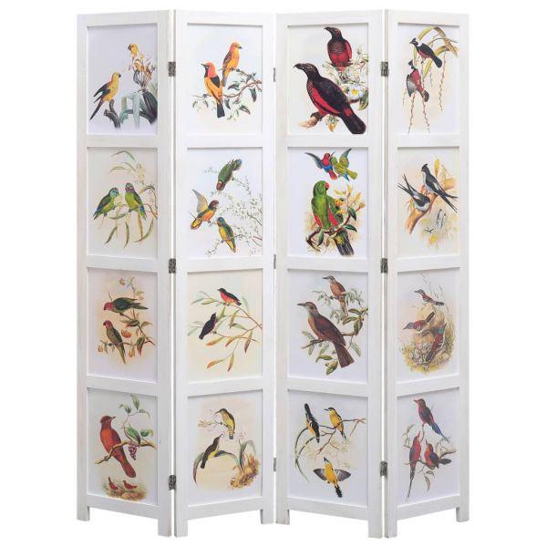 Ausgezeichnete Campobasso 4-teiliger Raumteiler Weiß 140 x 165 cm Vogelmotiv
