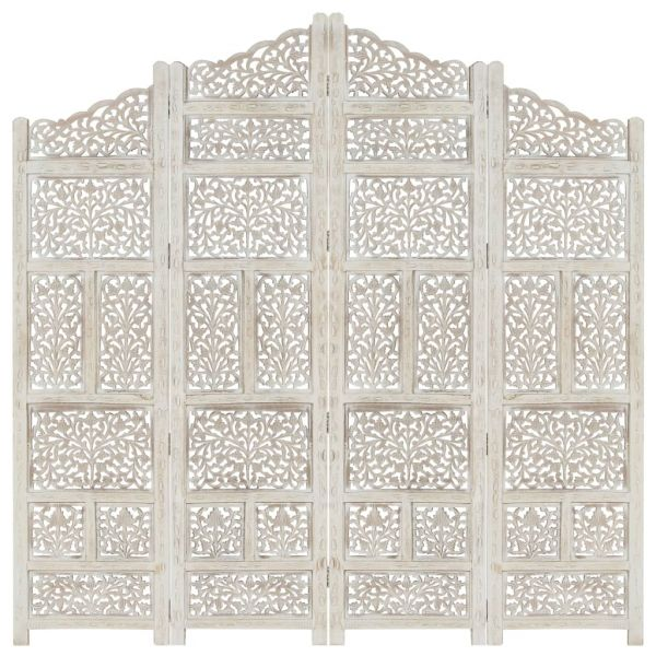 Klassische 4tlg. Raumteiler Handgeschnitzt Weiß 160 x 165cm Mango Massivholz San Giovanni Rotondo