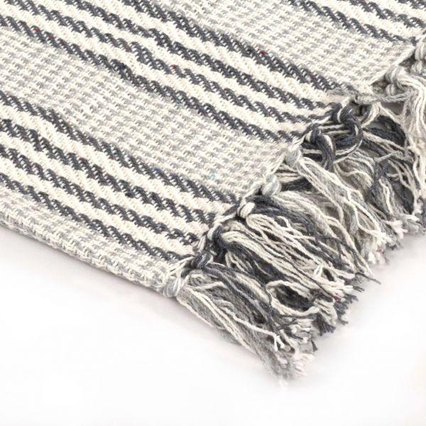 ausgezeichnete Castelo Branco Überwurf Baumwolle Streifen 220 x 250 cm Grau und Weiss