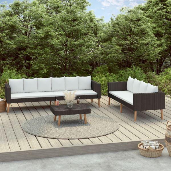 Erstklassige 3-tlg. Garten-Lounge-Set mit Auflagen Poly Rattan Schwarz Nuevo Laredo