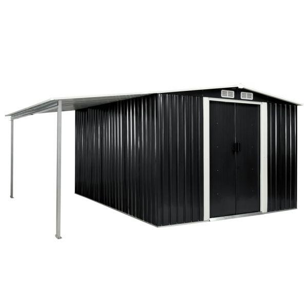 Starker Gerätehaus mit Schiebetüren Anthrazit 386 x 312 x 178 cm Stahl Jovellanos