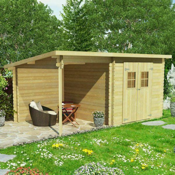 Wunderschöne Blockhaus Holz 28 mm 5x3 m massives Kiefernholz