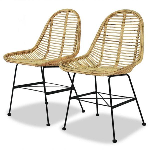 Gartenstühle für Garten & Balkon 2 Stk. Natur Rattan Amiens