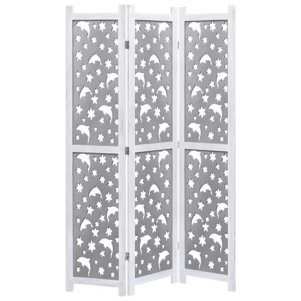 Trendige Cologno Monzese 3-teiliger Raumteiler Grau 105 x 165 cm Massivholz