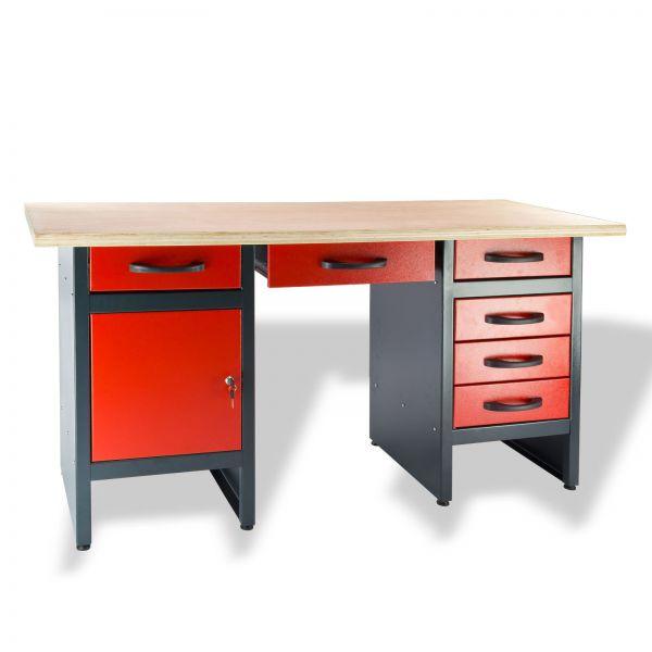Werkbank / Werktisch 1700 T/6S 170x60x84 cm 6 Schubladen 1 Tür