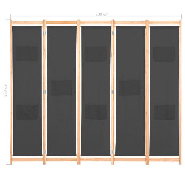 Fabelhafte Grosseto 5-teiliger Raumteiler Grau 200 x 170 x 4 cm Stoff