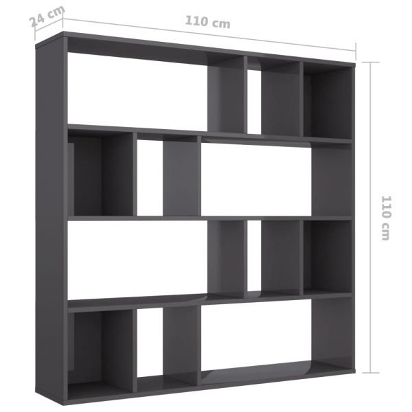 Moderner Partinico Raumteiler/Bücherregal Hochglanz-Grau 110 x 24 x 110 cm Spanplatte