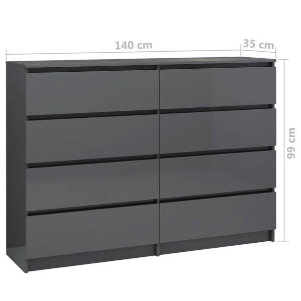 wundervolle Bedford Sideboard Hochglanz-Grau 140 x 35 x 99 cm Spanplatte