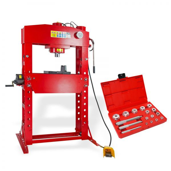 SET 75 Tonnen Werkstattpresse manuell / pneumatisch + Lagertreibsatz 14-tlg