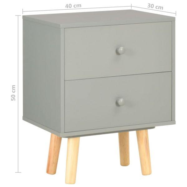 Schöne Nachttische 2 Stk. Grau 40 x 30 x 50 cm Kiefer Massivholz As