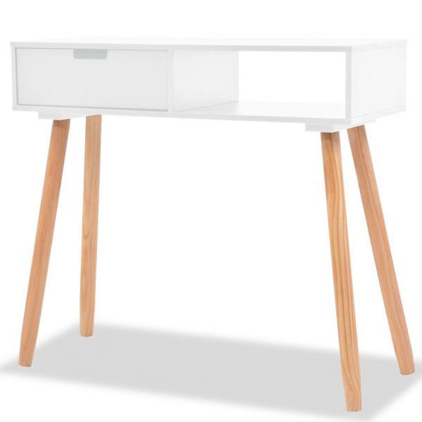 klassische Harstad Konsolentisch Kiefernholz Massiv 80 x 30 x 72 cm Weiß