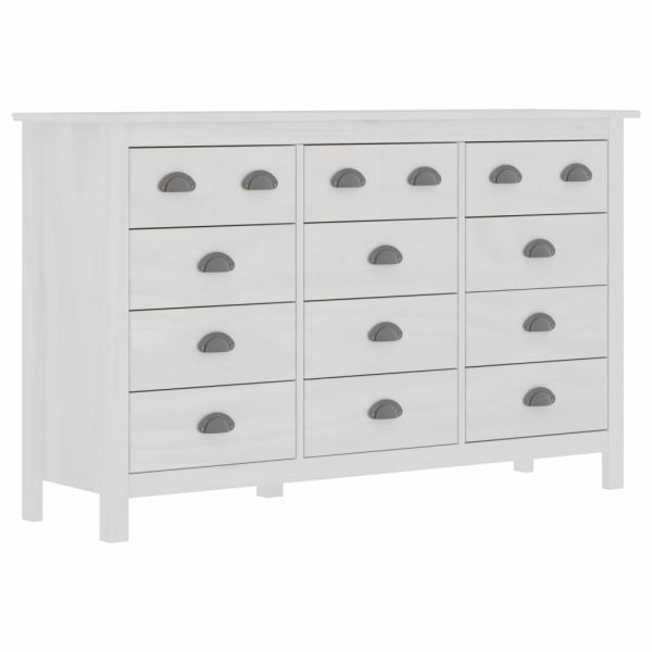 klassische Sideboard Hill Range Weiß 130x37x80 cm Massivholz Kiefer Walthamstow