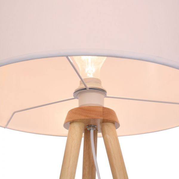 Wunderschöne Barreiro Tripod Stehlampe - Stativ aus Holz, Stoffschirm, Skandinavischen Stil - Wohnzi