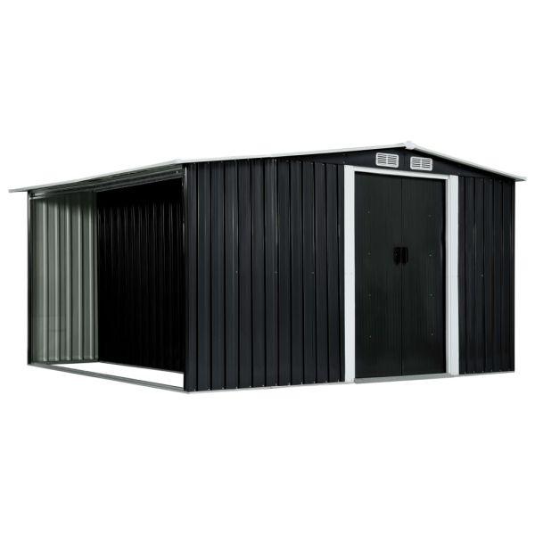 Gerätehaus mit Schiebetüren Anthrazit 329,5 x 312 x 178 cm