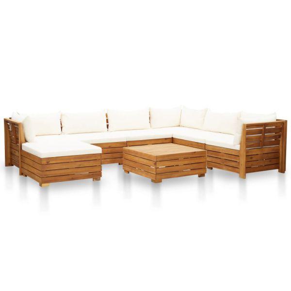 Garten-Sofagarnitur mit Auflagen Akazienholz Cremeweiß