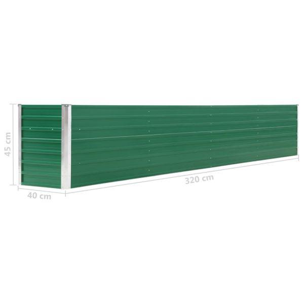 Eindrucksvolle Garten-Hochbeet Verzinkter Stahl 320 x 40 x 45 cm Grün Wynyard