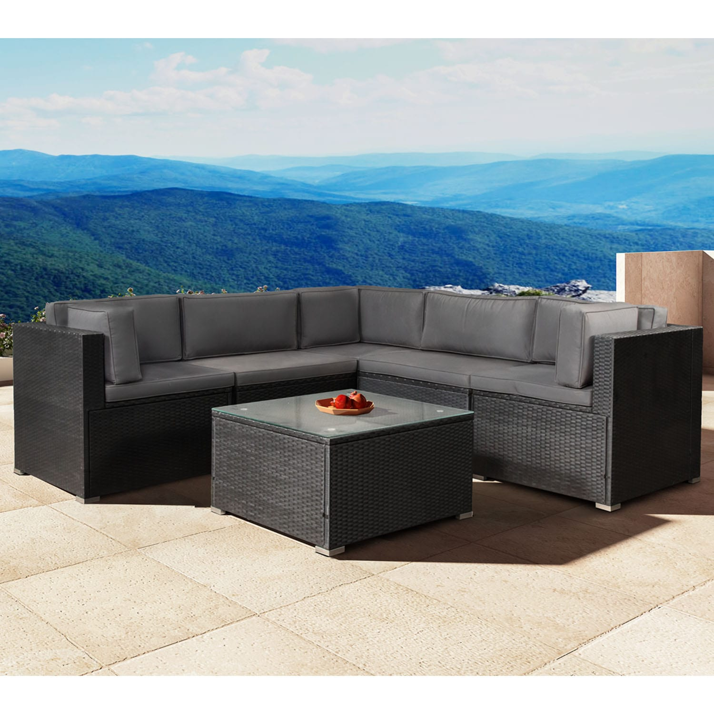 Lounge poly rattan sitzgruppe sofa gartenm bel mit bez gen neu - Gartenmobel sitzgruppe rattan lounge ...