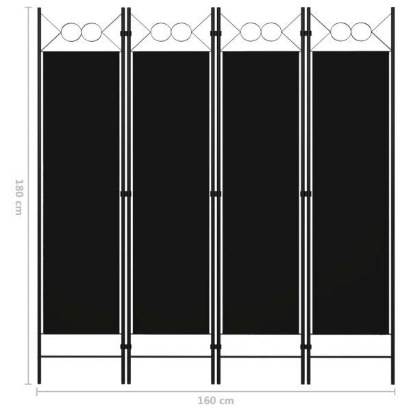 Moderner Barcellona Pozzo di Gotto 4-tlg. Raumteiler Schwarz 160 x 180 cm
