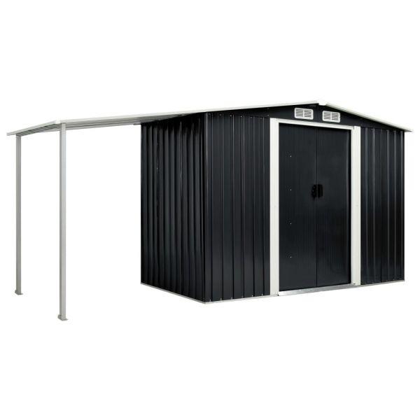 Stabiler Gerätehaus mit Schiebetüren Anthrazit 386 x 131 x 178 cm Stahl Florida