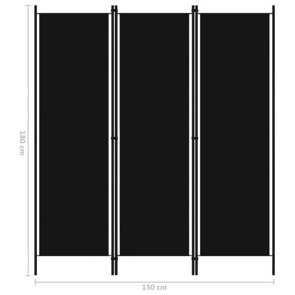 Moderner Corsico 3-tlg. Raumteiler Schwarz 150x180 cm