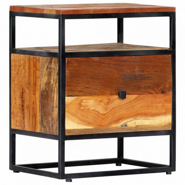 bildschöne Nachttisch 40 x 30 x 50 cm Recyceltes Massivholz und Stahl Levanger