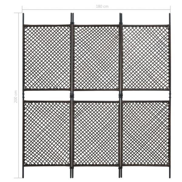 3-tlg. Raumteiler Poly Rattan Braun 180 x 200 cm