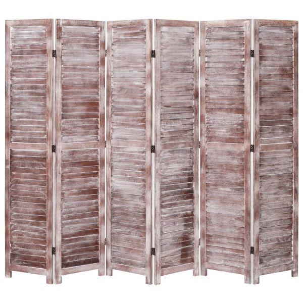 6-tlg. Raumteiler Braun 210 x 165 cm Holz