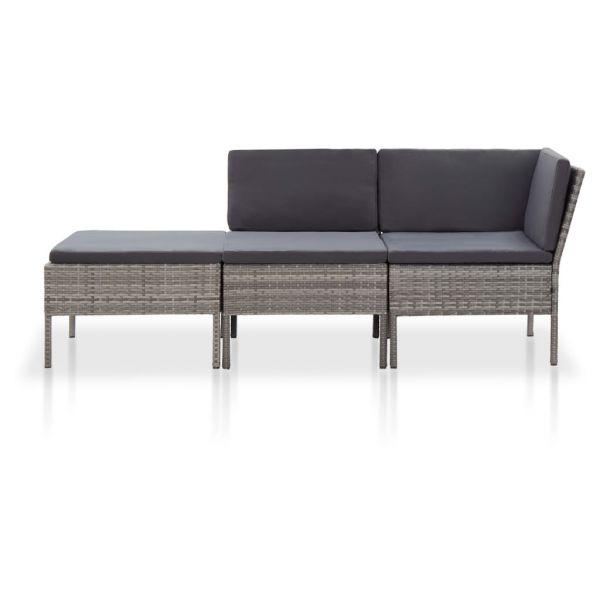 Graziöse 3-tlg. Garten-Lounge-Set mit Auflagen Poly Rattan Grau San Francisco del Rincon