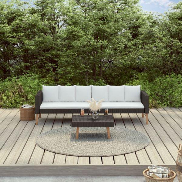 Herrliche 2-tlg. Garten-Lounge-Set mit Auflagen Poly Rattan Schwarz Tonala