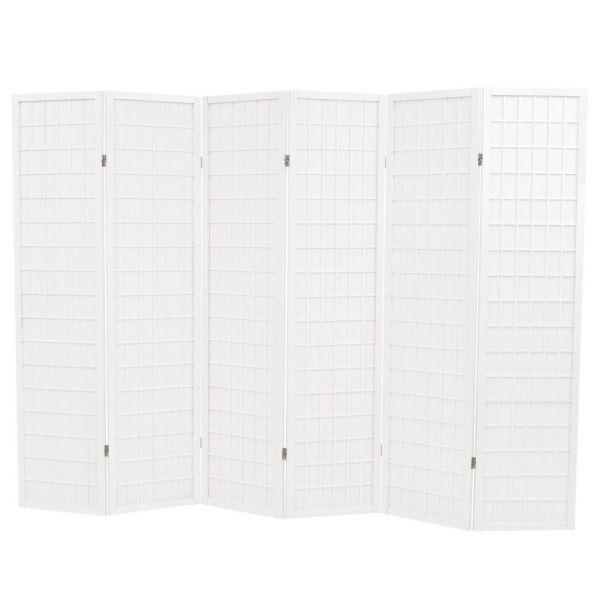Traumhafte Gela 6-tlg. Raumteiler Japanischer Stil Klappbar 240 x 170 cm Weiß