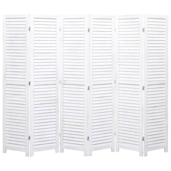 Klassische Chieti 6-tlg. Raumteiler Weiß 210 x 165 cm Holz