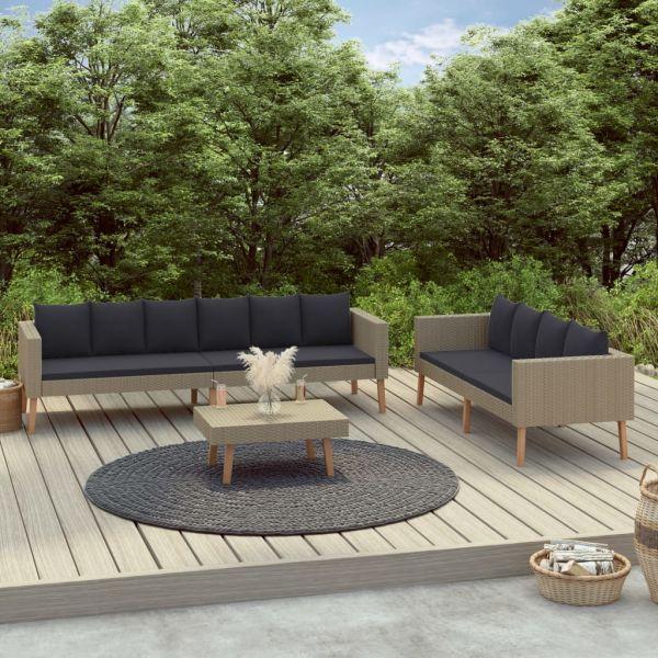Erstklassige 3-tlg. Garten-Lounge-Set mit Auflagen Poly Rattan Beige Ciudad Obregon