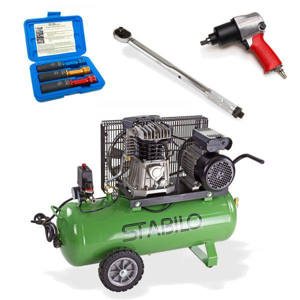 Kompressor 450/10/50 + Nuss-Set + Schrauber + Drehmomentschlüssel