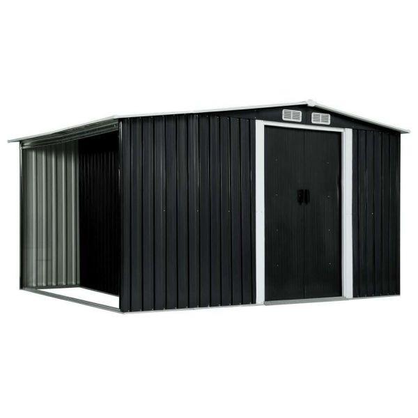 Gerätehaus mit Schiebetüren Anthrazit 329,5 x 131 x 178 cm