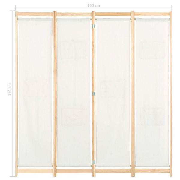 Prachtvolle Cosenza 4-teiliger Raumteiler Cremeweiß 160 x 170 x 4 cm Stoff