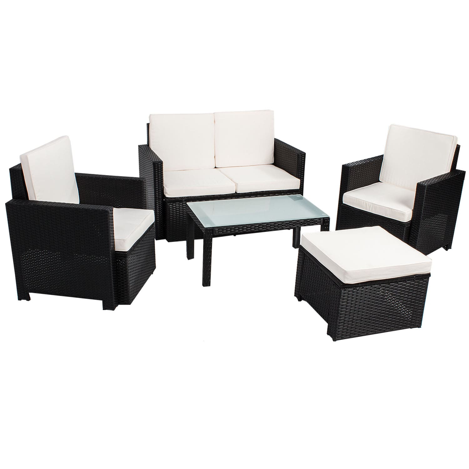 polyrattan gartenm bel sitzgruppe 5 teilig lounge garten rattan. Black Bedroom Furniture Sets. Home Design Ideas