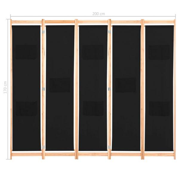 Charmante Legnano 5-teiliger Raumteiler Schwarz 200 x 170 x 4 cm Stoff