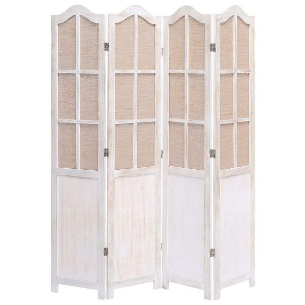 Charmante Desio 4-teiliger Raumteiler Weiß 140 x 165 cm Stoff