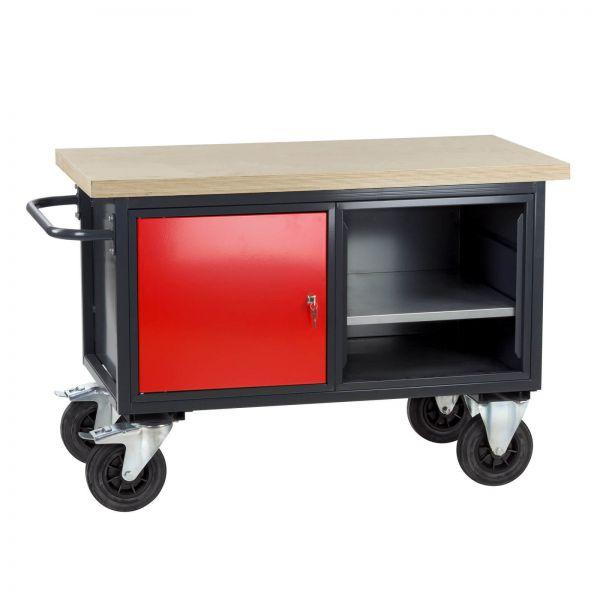 Werkstattwagen / Tischwagen, 130x60x83,5 cm, 1-türig, 1 Fachböden