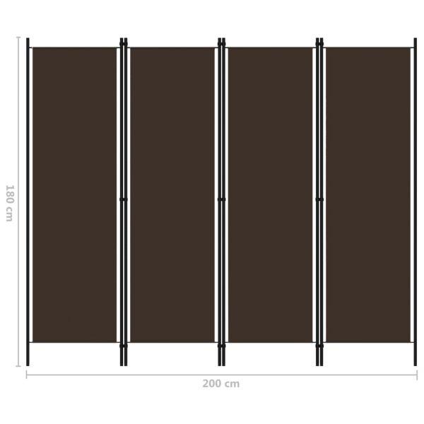 Prachtvolle Venaria Reale 4-tlg. Raumteiler Braun 200x180 cm