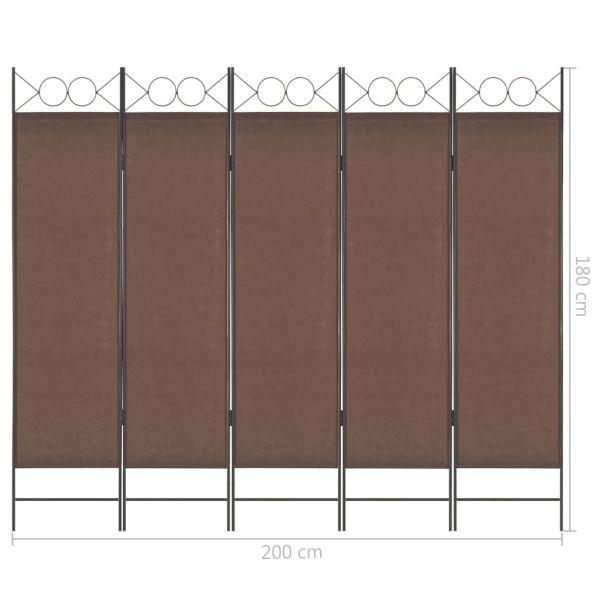 Trendige Ercolano 5-tlg. Raumteiler Braun 200 x 180 cm