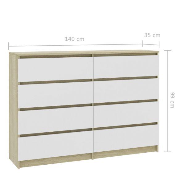 Schöne Woking Sideboard Weiß und Sonoma-Eiche 140 x 35 x 99 cm Spanplatte