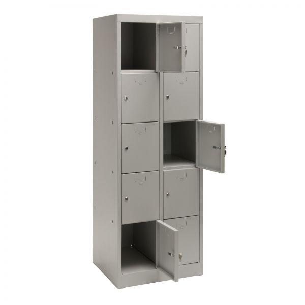 Schließfachschrank / Fächerschrank 10 Fächer Lichtgrau 60x50x180